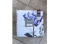 Next 200 Thread Cotton Sateen Digital Reversible Purple White Double Duvet Set! BNWT RRP £50!