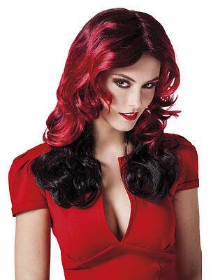Damen rote schwarz Gothic Kabarett Halloween Hexe Perücke Burleske Kostüm NEU