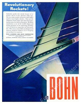 art deco future rocket plane airliner art 1944 Bohn ad fine art print 24x30