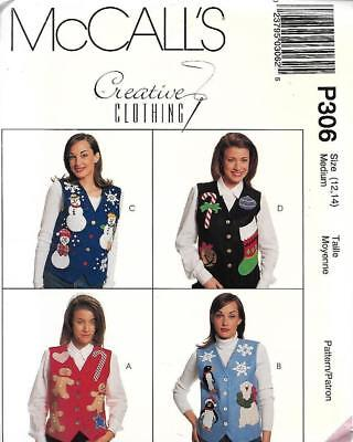 McCall's Misses Lined Vests Christmas Holiday Medium 12/14 Penguins & More - Plus Size Penguin Costume