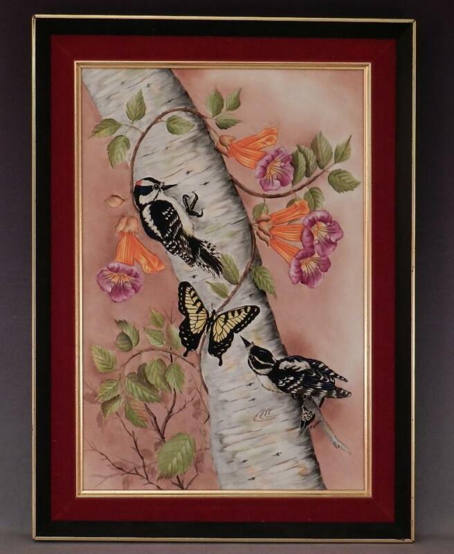 Vintage 1970 Porcelain Painting~FRANK SURRO~Boehm Studio Artist~Downy Woodpecker