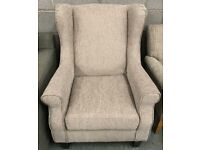 High retail beige cord fabric fireside chair