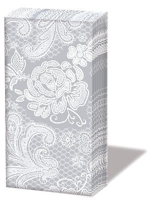 "100 Taschentücher""Lace silver""Hochzeit*Spitze silber*Freudentränen*Sniff*Blüten"