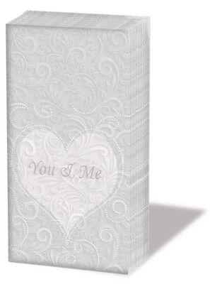"""100 Design Taschentücher """"You and Me"""" Herz Ornamente Hochzeit*Freudentränen"""