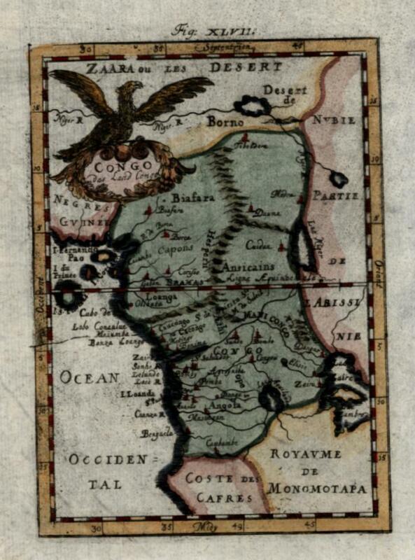 Congo Nubia Angola Sahara Desert Lake Zaire Guinea 1719 Mallet decorative map