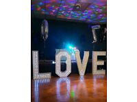 4ft LED light up LOVE letters for hire ***SPECIAL OFFER*** Now only £80