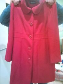 Debenhams red wool coat size 16 petite.