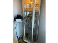 DEAL!!! GLASS CORNER DISPLAY CABINET- cream / wood (oak) + light, £ 70