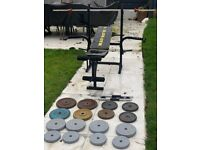 Weights bench with 80kg weights set