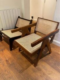Pierre Jeanneret Teak and rattan lounge chair