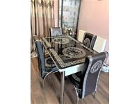 ⭐⭐FLAT 50% OFF SALE🔥🔥 ON VERSACE EXTENDABLE DINING TABLE AND CHAIRS GRAB IT NOW!!!