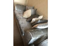 Silver Crushed Velvet sofa 3+1 seater with cushions - Free