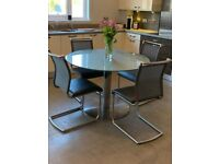 **REDUCED** Ex Anderson's of Inverurie Round Glass Dining Table Set with 4 Chairs