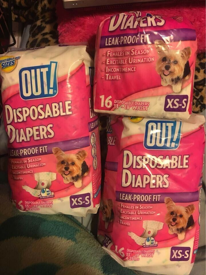 New Out PetCare, LLC Quantity 2 And 1/2 16-pack Disposable Female Dog Diapers  - $20.00