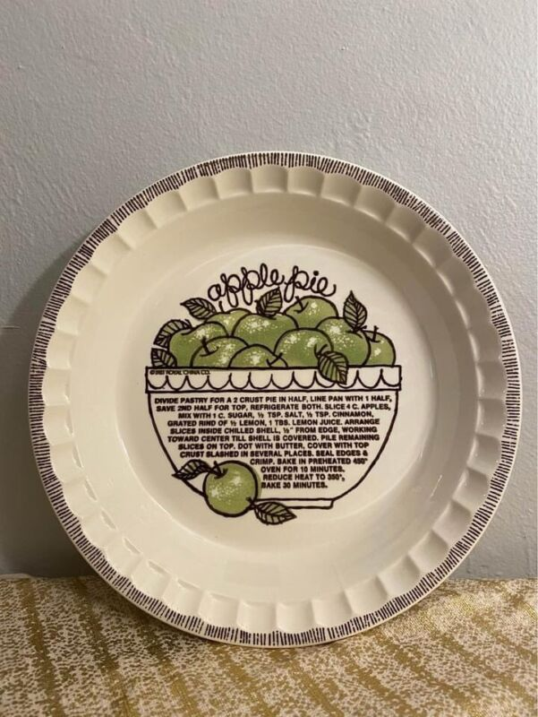 Vintage 1983 Country Harvest Apple Pie Recipe Plate Baking Dish