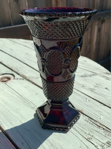 """Avon Vintage 1876 Cape Cod Collection Ruby Red Etched Glass Vase 8"""" Tall"""