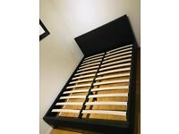 Leather double bed frame with nearly new mattress