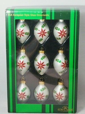 Poinsettia Finial Oval Ornament Set 9 White Red 2.5