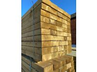 Garden sleepers green or brown pressure treated and also Oak 2.4m 8ft timber