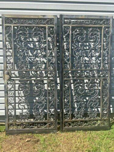 VINTAGE ORNATE WROUGHT IRON AND METAL DOUBLE SECURITY DOORS Garden Gate/Trellis