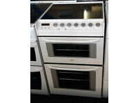 o777 white zanussi 55cm double oven ceramic hob electric cooker comes with warranty can be delivered