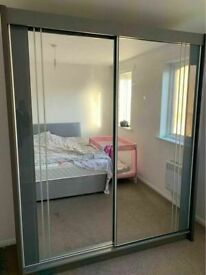 💥💯SEASONAL SALE 2 AND 3 MIRRORED DOORS SLIDING WARDROBES WITH SHELVES, RAILS