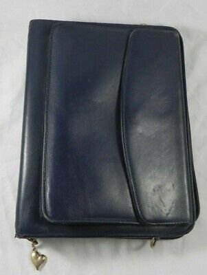Franklin Quest Pre- Covey Navy Blue Full Grain Aniline Leather Classic Binder