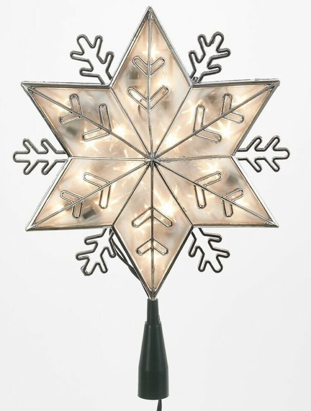 6 Point Silver Snowflake Light Up Christmas Tree Topper Clear Lights UL0159C New