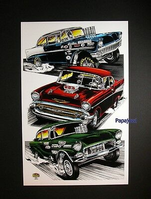 "Hot Rod Drag Racing Art Print Poster Tri 5 1955 1956 1957 Chevrolet's 11"" by 17"""