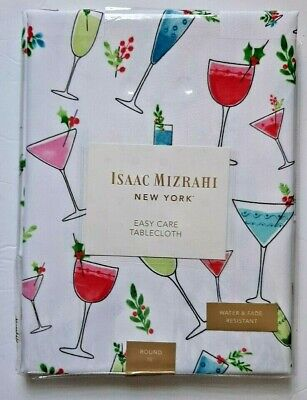 Isaac Mizrahi New York Holiday Cocktail Drink Themed Tablecloth NEW in Pkg