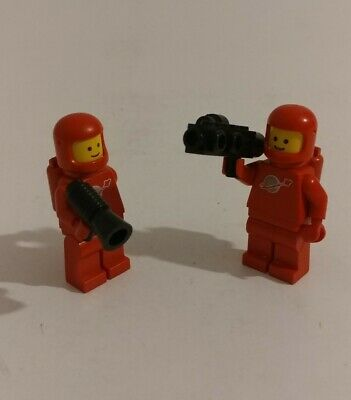 Lego set of 2 Vintage Classic Red Astronaut Space Minifigure lot