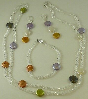 Freshwater Coin Pearl Necklace, Earring and Bracelet with Crystal Set in (Coin Pearls Bead Sets)