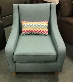 DFS blue fabric armchair
