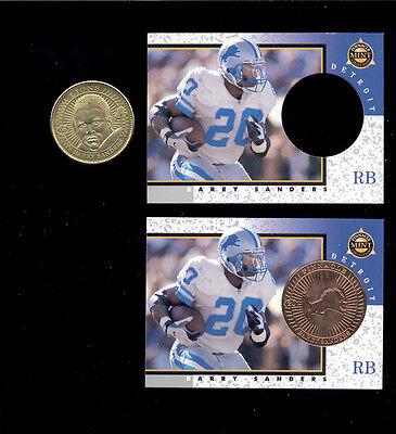 Detroit Lions Coin Card - 1997 Pinnacle Mint BARRY SANDERS Detroit Lions Card Lot + Die Cut +Brass Coin