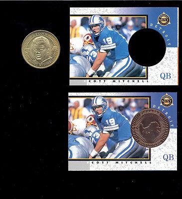 Detroit Lions Coin Card - 1997 Pinnacle Mint SCOTT MITCHELL Detroit Lions Card Lot + Die Cut +Brass Coin