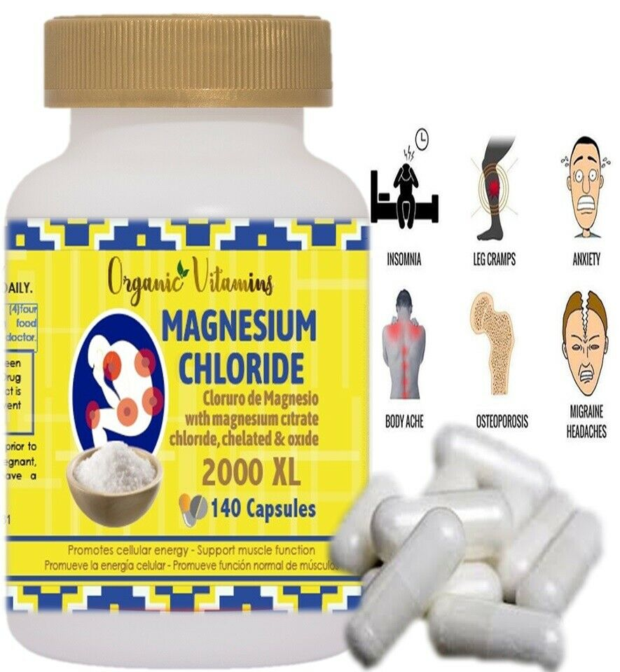 Citrato de Magnesio - 140 capsulas Pastillas de Citrato de Magnesio 2000