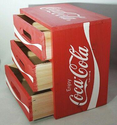 "Coca Cola Red Wood Crate Desktop Drawer Organizer 8""x8""x5"" Gift Decor"