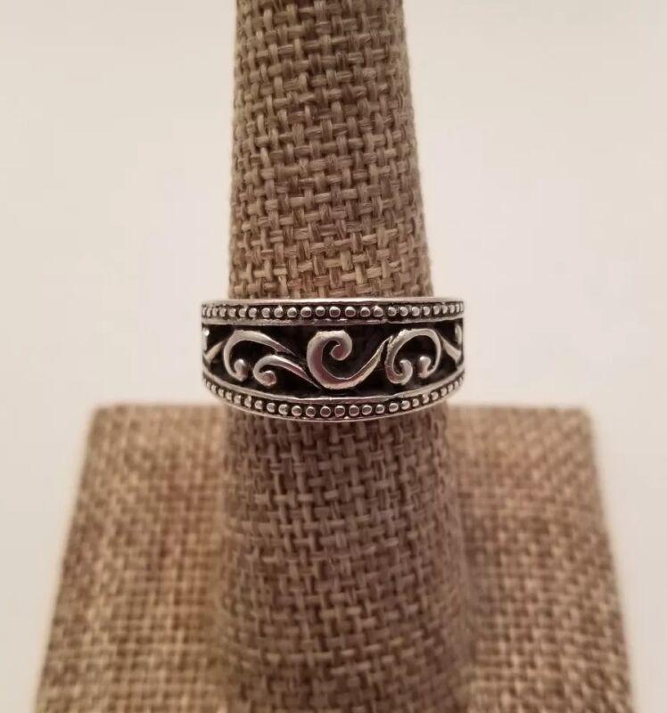 Filigree Swirl Vine Ring Band Vintage Silver Plated Tone Size 7.25 Fashion