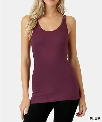 Womens Racerback Tank Top Basic Ribbed Knit Long Stretch Cotton Yoga Casual Tee ()