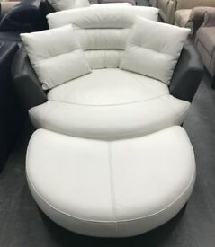DFS Black And White leather swivel chair Footstool and electric recliner armchair