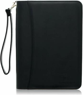 Junior Zippered Business Padfolio With 5x8 Notepad - Black Faux Leather Portfoli