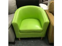 Lime Green leather tub chair
