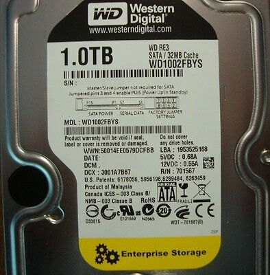 Western Digital WD1002FBYS RE3 32MB Cache 7200rpm 1000gb 3.5