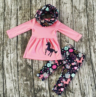 USA Boutique Toddler Kids Baby Girl Unicorn Tops Dress Pants Outfits Set Clothes