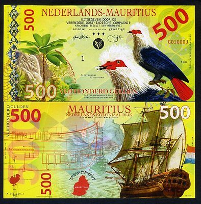 Netherlands Mauritius, 500 Gulden, 2016, Private Issue POLYMER, UNC