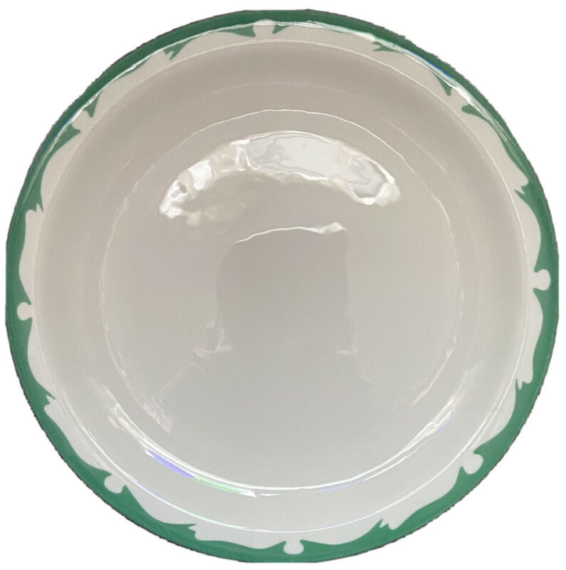 "Buffalo China Green Scroll 9"" Luncheon Plate 1963 Wave Vintage Restaurant Ware"