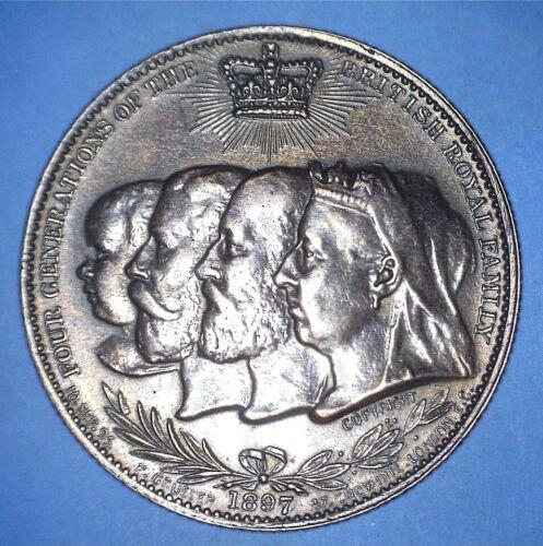 1897 VICTORIAN DIAMOND JUBILEE FOUR GENERATIONS MEDAL BY GRUEBER - *81386456
