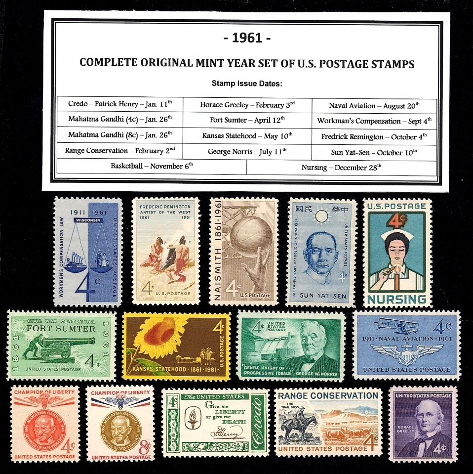 COMPLETE YEAR SET of Mint 1957 Never Hinged Vintage Postage Stamps