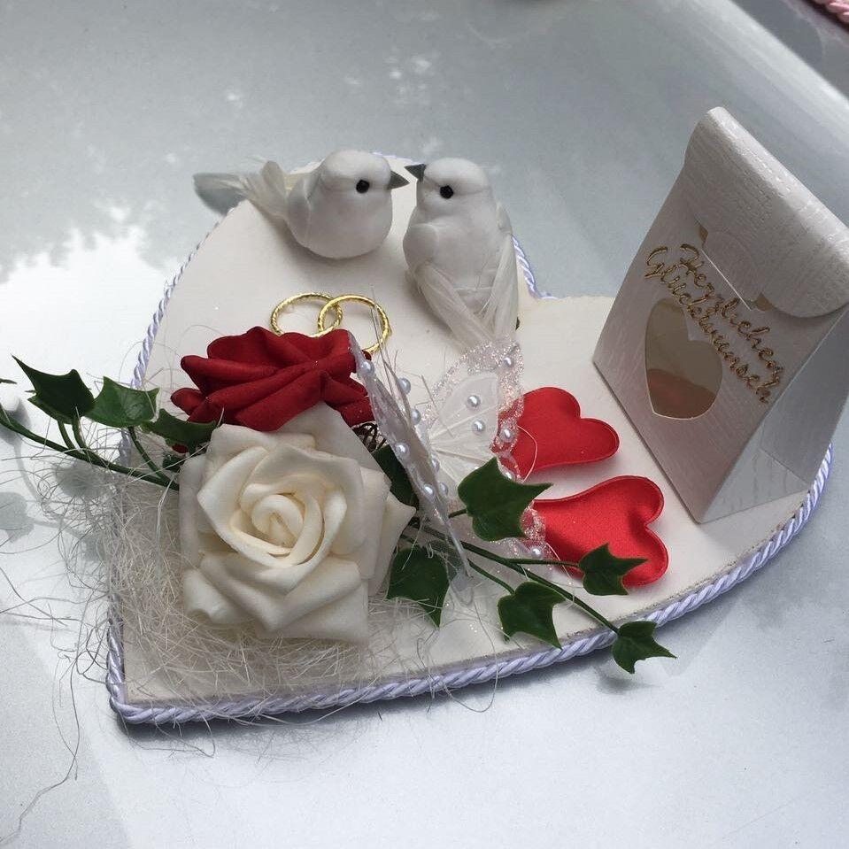 Geldgeschenk Hochzeit Herz weiß rot Tauben Eheringe Hochzeitsgeschenk