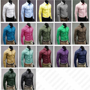 Mens-Slim-Fit-Shirt-Smart-Casual-Formal-Solid-Plain-Colour-XS-S-M-L-XL-New